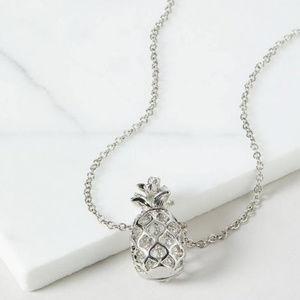 Silver Cutout Pineapple Pendant Necklace
